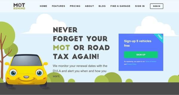 Mot Remind Website image